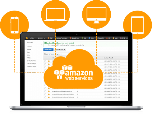 Laptop showing amazon cloud web services