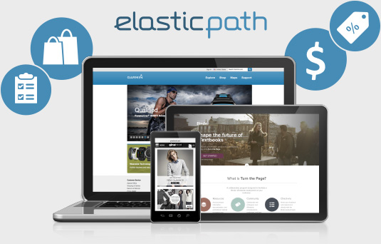 Commerce laptop, tablet, and mobile phone. The Elastic Path e-commerce platform handles all types of devices for true omni-channel commerce.
