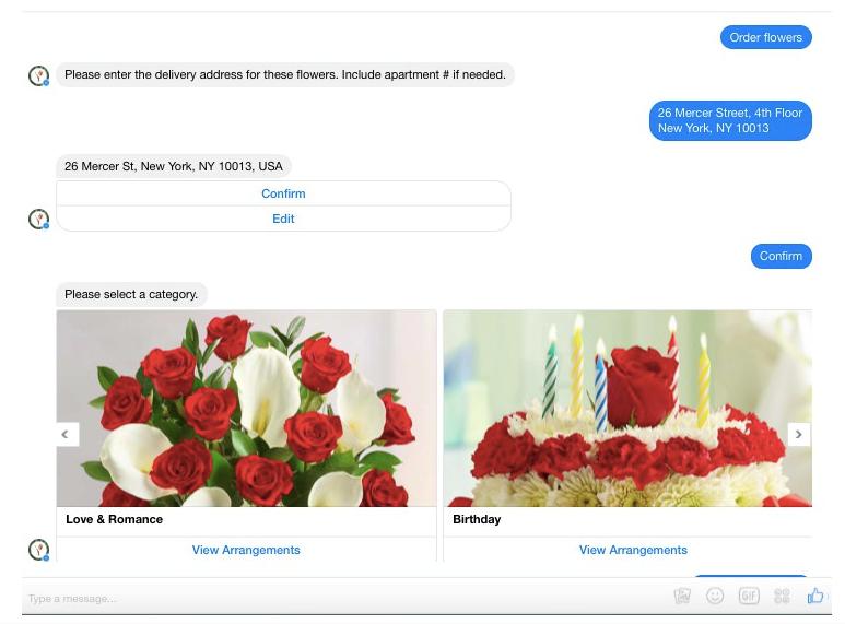 1800flowers facebook messenger chatbot