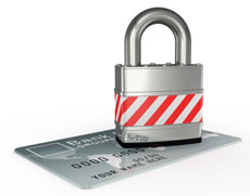 Silver lock on a credit card