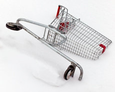 Shopping cart cut by half