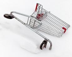 Shopping cart cut by half