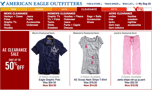 American Eagle Clearance Landing Page