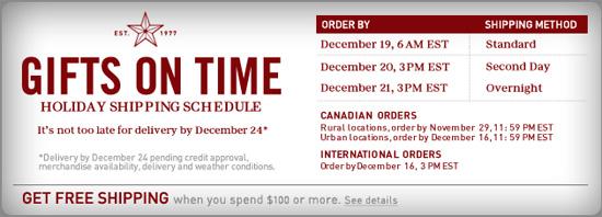AE.com Cutoff Schedule