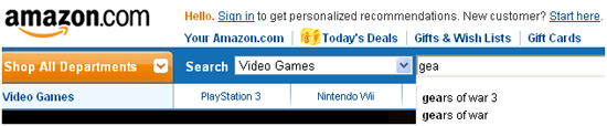 Predictive search on amazon.com
