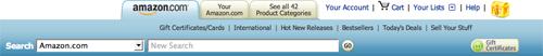Amazon.com tabbed navigation