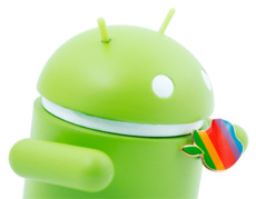 Android icon eating an apple