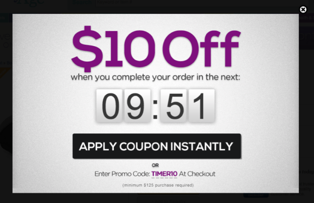 apply coupon instantly popup