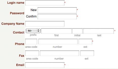 asterisks near input fields
