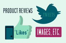 Product reviews, tweets and likes banner