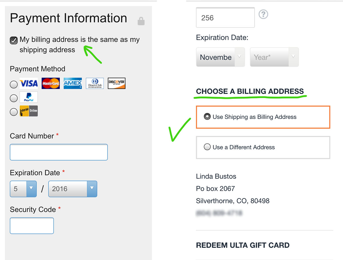 billing address in payment step