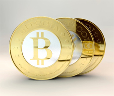 Three golden bitcoins