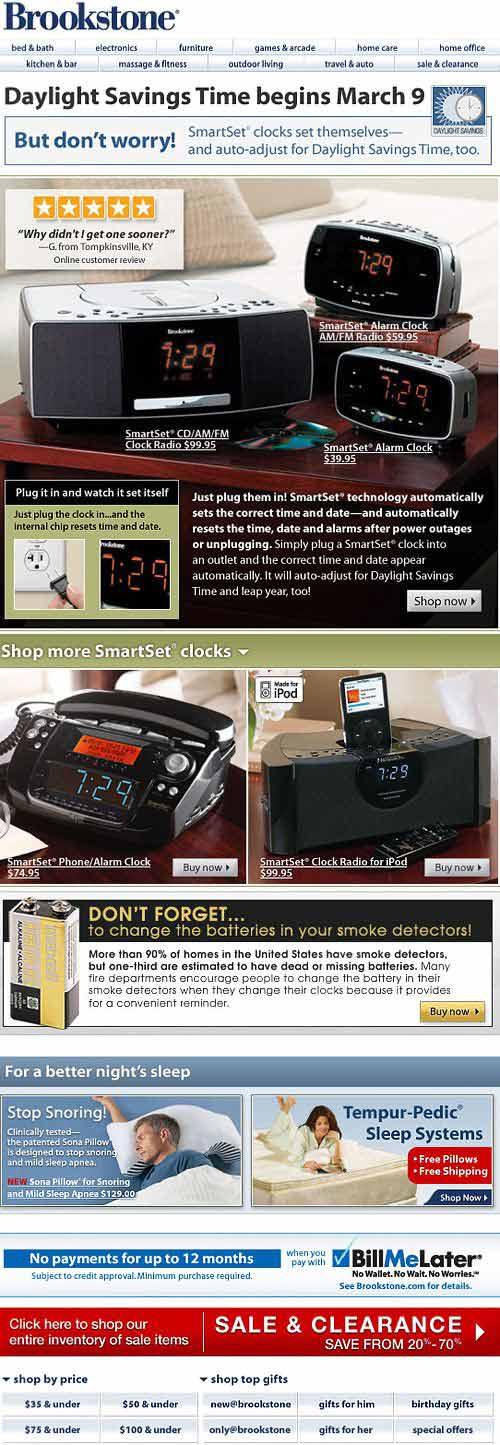Brookstone Daylight Savings Email