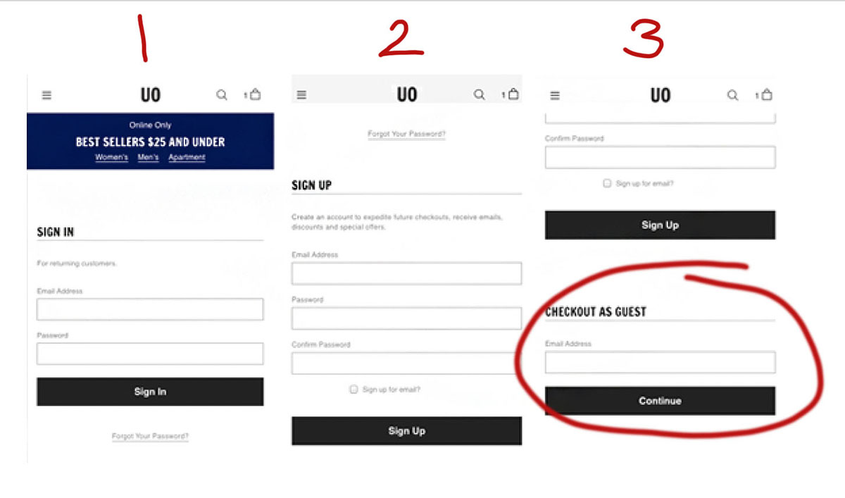 buried guest checkout on mobile
