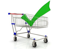 Shopping cart with a green check mark