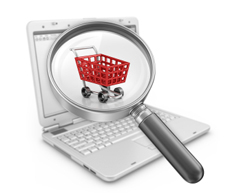 Red shopping cart on a laptop screen