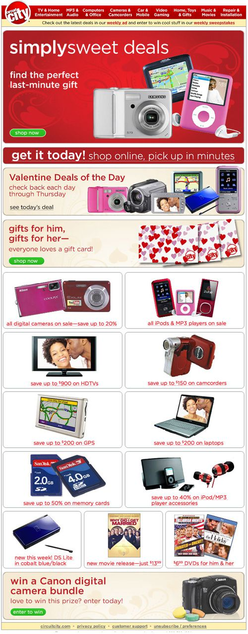 Circuit City Valentine's Day Email