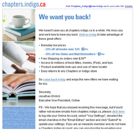 Chapters-Indigo Winback Email