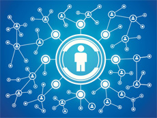 Blue background, connected people