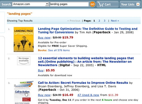Amazon.com Passes Landing Pages Search