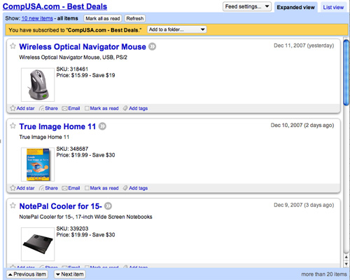 CompUSA Feed in Google Reader
