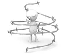 A little black man surrounded by barbed wire