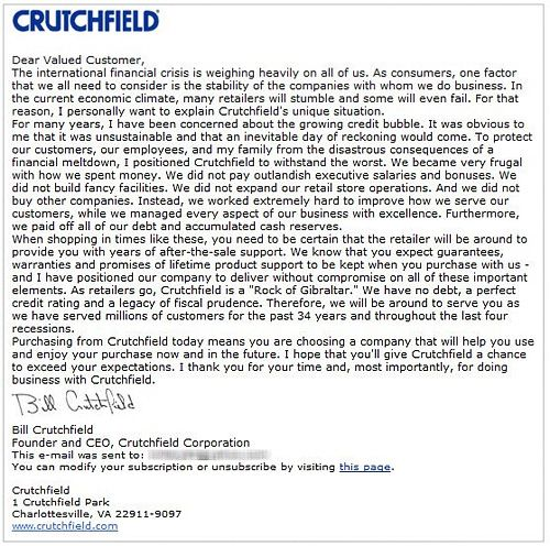 CEO Explains Why Crutchfield Will Weather The Economic Storm