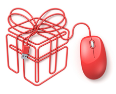 A red mouse with its cord in form of a present