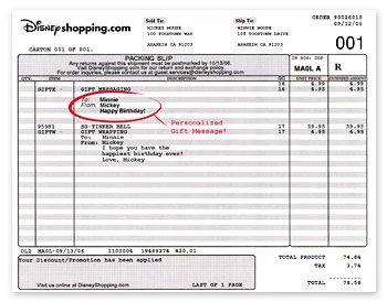 Disney Shopping Invoice Message