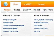 AT&T's Drop-Down Menus