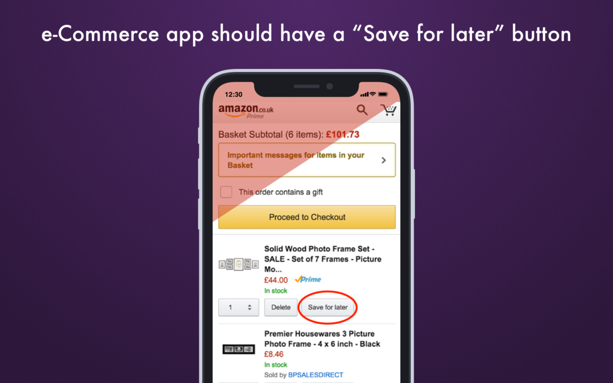 Ecommerce app should have a save for later button_Get Elastic