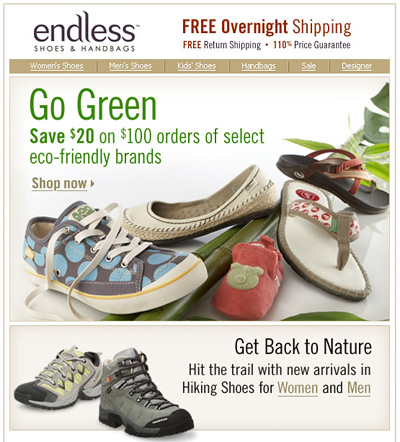 Earth Day Email from Endless