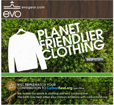 Earth Day Email from Evo Gear