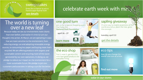 Earth Day Email from Macys