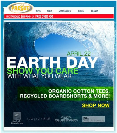 Earth Day Email from Pac Sun
