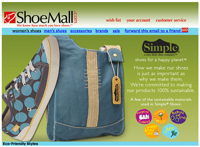 Earth Day Email from Shoe Mall