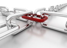 Four silver chains hold together by a red link
