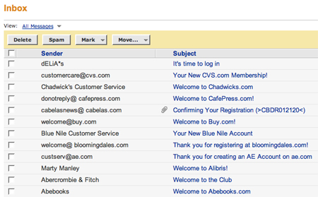 screenshot of email subject lines