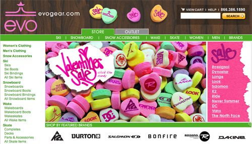 Evogear Valentines Day Home Page