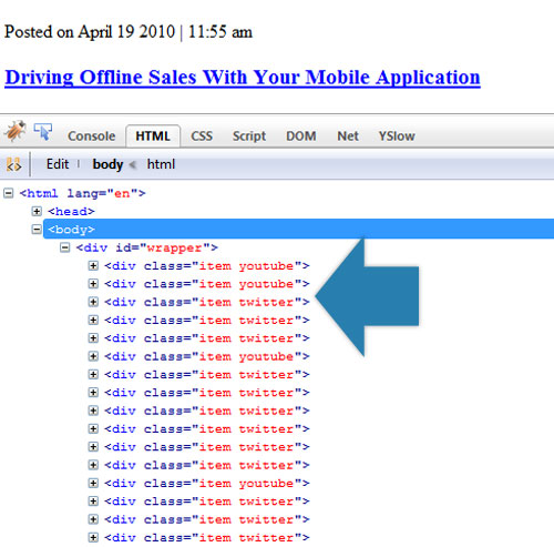Screen capture shows that the server has added the desired classes and output them as part of the HTML