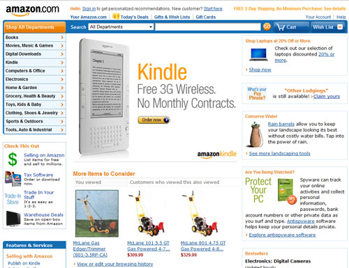 Screen capture of Amazon site narrow