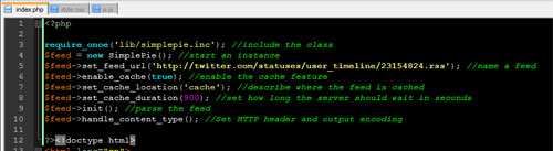 Screen capture of the code as seen in Notepad ++