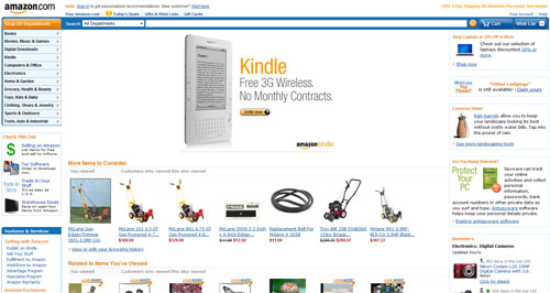Screen capture of Amazon site wide