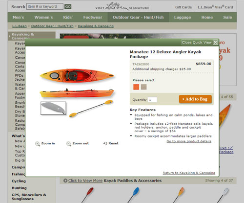 Screen capture of a modal window on the LLBean website