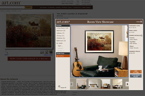 Screen capture from the Art.com website showing an in-room view with the product detail page in the background