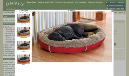 Screen capture of a modal window from the Orvis website, show four possible images and a previous link