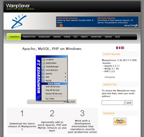 Screen capture of the WAMP web site