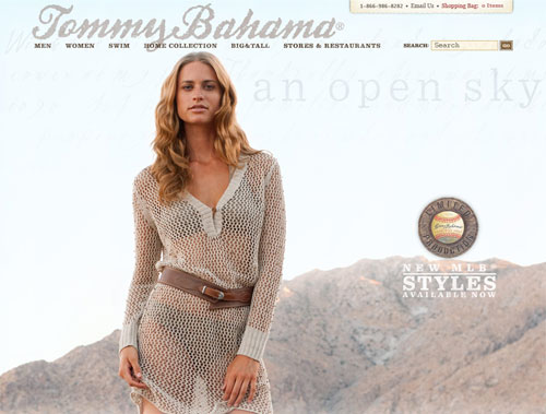 Screen capture of the Tommy Bahama website