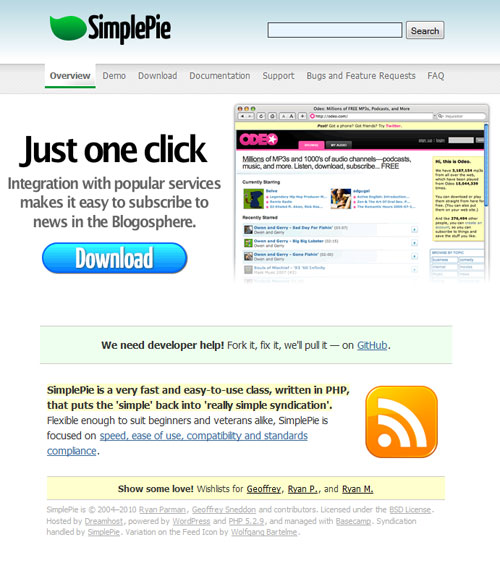 Screen capture from the SimplePie web site