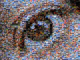 A human eye made out of little photos